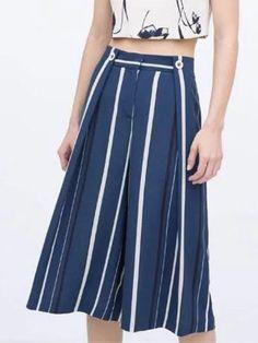 Blue, Stripe, High Waist, Wide Leg, Palazzo Pants