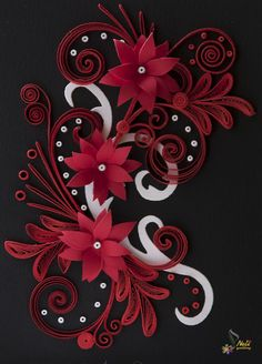 Neli Quilling Art: Quilling card - black , red and white