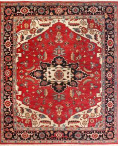 This beautiful Serapi is meticulously hand knotted from India by master craftsmen. The timeless design is creates a sophisticated and inviting space, perfect for a great room, foyer or nestled by a fireplace. This rug is built to last and made of 100% of the finest wools. #traditional #vintageinspired Classic Rugs, Black Rug, Traditional Rugs, Timeless Design, Great Rooms, Craftsman, Vintage Inspired, Rust, Bohemian Rug