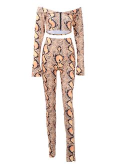 Off The Shoulder Snake Print Two Piece Set_Pant Set_Women Set_Sexy Lingeire   Cheap Plus Size Lingerie At Wholesale Price   Feelovely.com
