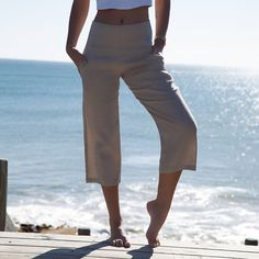 Linen 3/4 Pants the Tuscany Pants Natural Linen Tailored