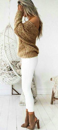 c5cff2e9ec92d  winter  outfits brown off-shoulder long-sleeve top and white pants White