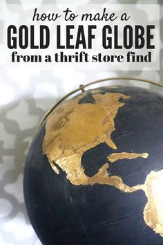 DIY Home Decor: How to take an ugly thrift store globe and turn it into something amazing! This black and gold globe is made with craft paint and gold leaf, and you won't believe how gorgeous it turned out! Inexpensive Home Decor, Cheap Home Decor, Diy Home Decor, Room Decor, Coastal Decor, Gold Diy, Gold Globe, Feuille D'or, Gold Spray Paint