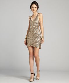 Ali Ro gold sequin sleeveless evening dress | BLUEFLY up to 70% off designer brands