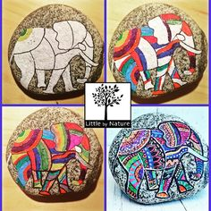 The process art on rock #paintedelephant #interior #paperweight #mycanvas #paintedstone #rockart #granite #spiritual #collectables #arthouse #process!