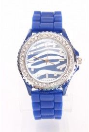 Royal Blue Rhinestone Trim Zebra Print Jelly Watch