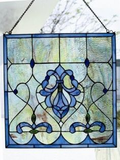 Other picture tiffany style stained glass window panel blue water
