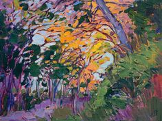 Petite oil painting by contemporary impressionist Erin Hanson