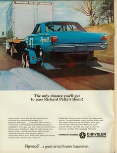 The Only Chance You'll Get to Pass Richard Petty's Hemi! Cool stock car ad.