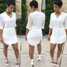 Sexy Women V-neck Casual Shirt Dress Short Sleeve Cocktail Party Bodycon Dress