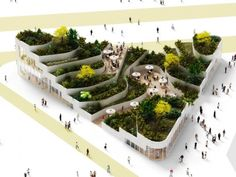Image 1 of 11 from gallery of Sanya Lake Park Super Market Proposal / NL Architects. Photograph by NL Architects Green Architecture, Landscape Architecture, Architecture Design, Residential Architecture, Contemporary Architecture, Urban Landscape, Landscape Design, Design 3d, Arch Model