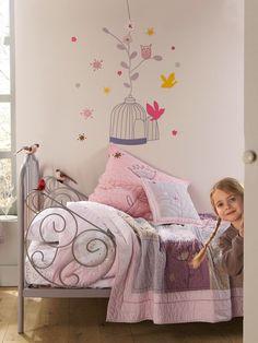une cage et des oiseaux stickers muraux dans la chambre de petite fille