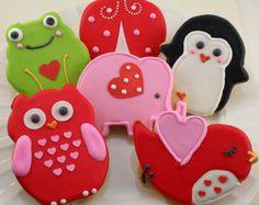 Valentine Cookies, Elephant Cookie, Owl Cookie, Frog Cookie, Ladybug Cookie, Bird Cookie, Penguin Cookie - 'Animal Love' (12 cookies)