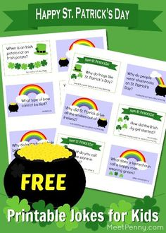 Our family loves silly jokes, despite the fact that we sometimes have to explain the punchline to our child with Autism. Regardless, we love a good belly laugh and so these St. Patrick's Day jokes for kids on free printable cards should be very handy.