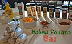 Presenting a fun spread for a get together does not have to be difficult. I made this DIY Baked Potato bar a few Fridays ago because I had a three other mom's coming over for a play date. The best thing about this Baked Potato Bar is that I already Chili Bar Party, Baked Potato Bar, Baked Potatoes, Italian Soda Bar, Pancake Bar, Feeding A Crowd, Football Food, Salad Bar, Picnic