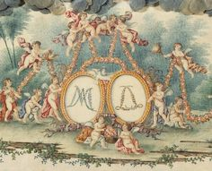 The monograms of Louis XVI and Marie Antoinette on a box made for the birth of their first son, Louis Joseph. [image: (C) RMN-Grand Palais (Château de Versailles) / Gérard Blot] Versailles, Louis Xvi, Little Theatre, French Royalty, French History, Joseph, French Revolution, Cupid, 18th Century