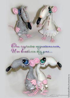 Купить Крыс и Крыска - крыса, мышь, любовь, текстильная игрушка, искусственная замша, трикотаж хлопок