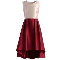 Chicwish Pretty in Rouge Waterfall Prom Dress ($50) ❤ liked on Polyvore featuring dresses, red, red holiday cocktail dress, evening cocktail dresses, red dress, holiday cocktail dresses and pleated cocktail dress