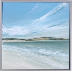 Jane Skingley, Daymer Bay, oil on canvas 50x50cm Seascape Paintings, Oil Painting On Canvas, Country Walk, Beach Look, Cornwall, Impressionist, Waves, Clouds, Sky
