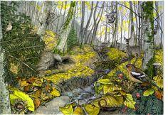 Pigelleto in autunno-inverno, acrilico e acquerello su carta cotone