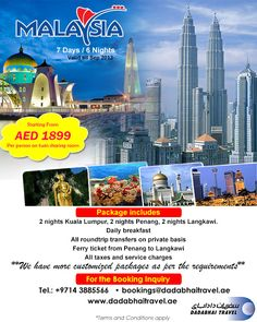 MALAYSIA PACKAGE			Valid from 01 May to 15 Sep    Package includes:  •	Either 4 or 5 star hotel with daily breakfast for adult & child  •	Roundtrip airport hotel by private transfer