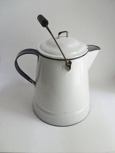 Vintage Enamel Coffee Pot Farmhouse White with Cobalt Trim