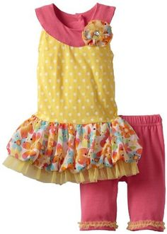 Little Lass Baby-Girls Infant 2 Piece Dress Set with Flowers, Yellow