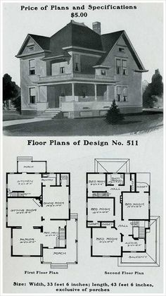 4 square house plan, 2 story 1920s Vintage house plan. Artistic city