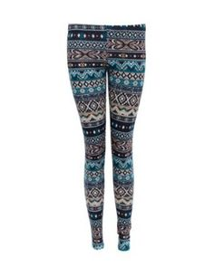 Amazon.com: Ladies Blue Green Winter Pattern Leggings: Clothing