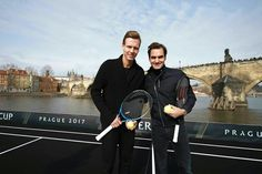 Roger Federer in Prague, with Tomas Berdych