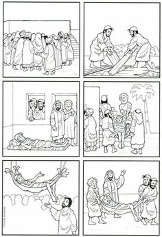 Paralyzed Man Lowered Through Roof Coloring Page Awesome Pin by Tammy Barnett On Bible Jesus Heals Bible Story Crafts, Bible School Crafts, Preschool Bible, Bible Activities, Bible Stories, Sunday School Activities, Sunday School Lessons, Sunday School Crafts, Jesus Heals Paralyzed Man
