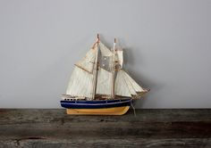 Wood and Linen Miniature Sailboat by Heritage1956