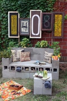 cinder block patio furniture...I kinda like!