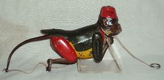 VINTAGE GERMAN TIN TOY CLIMBING MONKEY