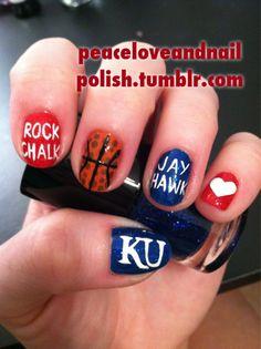 Rock Chalk Jayhawk! GO KU! Can someone do this to my nails??? @Kierstyn Cox