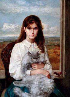 """Bruno Di Maio (Italian, b. 1944) - """"Ritratto di adolescente con gatto"""" (Portrait Of Teenage Girl With Cat), 1993 - Oil on canvas"""