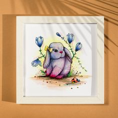 Original art, watercolor painting, hand painted, illustration, surrealism, Easter gift, animal, fantasy, whimsical, home decor, floral Watercolor Paper, Watercolor Paintings, Circus Characters, Animal Decor, Ink Painting, Cute Bunny, Watercolor Illustration, All Art, Gifts For Kids