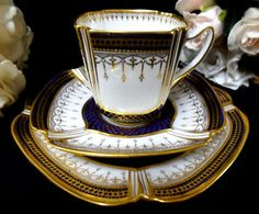Spode: cobalt and gold beaded, swagged, breathtakingly elegant cabinet cup and saucer, c.1895. Hints of lilly pads suggest turn-of-the-century sinuous curves brought to fashion by art nouveau