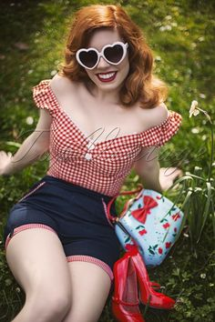 Collectif Clothing - Dolores top Carmen Gingham Top Red and White