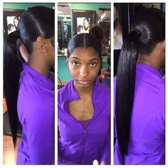 (two ponytail hairstyles weave) Two Ponytail Hairstyles, Ponytail Styles, Weave Hairstyles, Girl Hairstyles, Curly Hair Styles, Natural Hair Styles, Hair Ponytail, Sleek Hairstyles, Hairstyle Ideas