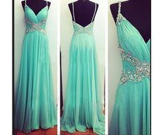 V-Neck Prom Dresses Beaded Prom Dress 2015 Second Killed Chiffon Party Gown Floor Length Evening Gowns