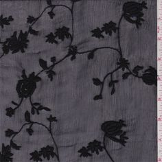 A sheer, very lightweight woven silk fabric with a dry hand/feel and crinkled surface. Tone on tone embroidered floral design. Great drape and fluidity. Suitable for flowing blouses, dresses, special occasion apparel and overlays. Use a lining where opacity is desired. Hand wash or dry clean.Compare to $20.00/yd