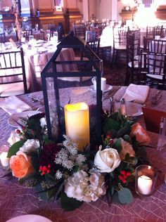 Lantern fall centerpieces with floral ring  www.myfloralimpressions.net Floral Impressions  Hunt Valley, MD 410-329-1406
