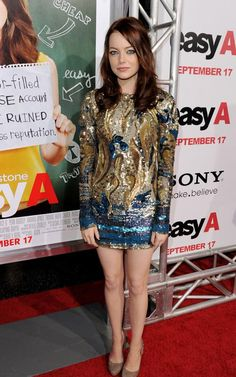 Emma Stone wearing Cesare Paciotti Zip-Around Platform Pump and Emilio Pucci Fall 2010 Dress.