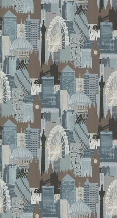 This contemporary #wallpaper design by Linwood features an all over design of the London skyline, including Tower Bridge, Big Ben and The London Eye.