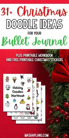 31 Christmas doodles for your Bullet Journal. Including a free printable doodle … Making A Bullet Journal, Bullet Journal Hacks, Bullet Journal How To Start A, Bullet Journal Layout, Bullet Journal Inspiration, Bullet Journals, Christmas Doodles, Christmas Stickers, Christmas Fun