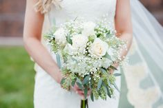 Bouquet Baby's breath and White roses   Bride   LES BOURGEOIS VINEYARDS WEDDING   COLUMBIA MISSOURI WEDDING PHOTOGRAPHY   ST. LOUIS WEDDING PHOTOGRAPHER   Winter Wedding ideas   Bride and Groom Portrait ideas   Midwest   Erin Stubblefield Weddings and Portraiture