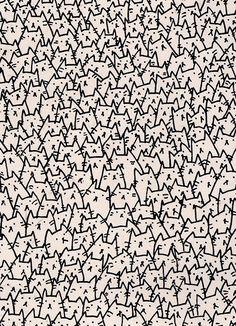 kitten pattern cat cats drawing illustration   http://www.pinterest.com/crackerbag/