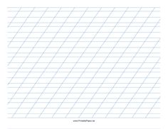 This Italic Practice Paper-Landscape features sets of light blue 1/4-inch wide lines with 3/8-inch wide lines immediately before and after, with high angle vertical guidelines on letter-sized paper in landscape orientation. Free to download and print