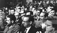 At the television studio, those taking part in Fidel Castro's broadcast., Among others: Dr. Osvaldo Dorticas Torrado, President of the Republic, accompanied by his wife, Che Guevara, Minister of Industry and companion Blas Roca, 1964, Cuba.